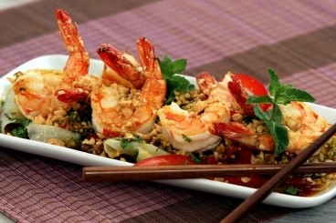 SALADE CROQUANT AUX GAMBAS